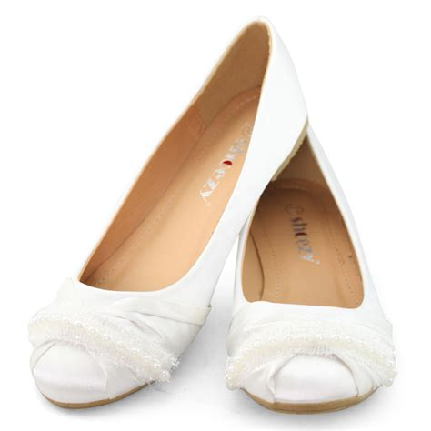 Womens Flat Wedding Shoes by Shoezy White Flat Wedding Shoes Satin Silk