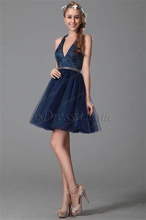 robe de f 234 te bleu nuit en strass col am 233 ricain dos nu