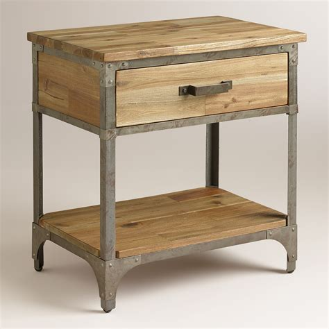 night table with cabinet and drawer set of 2 walmart com aiden nightstand world market