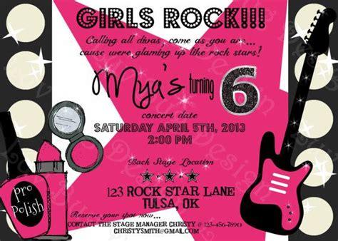 printable star invitations printable girl rock star birthday party invite by