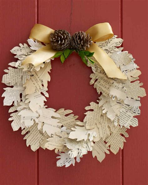 A Paper Wreath - paper leaf wreath martha stewart
