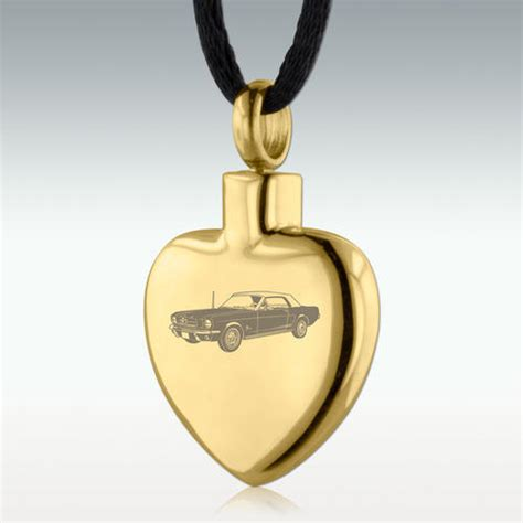 gold 1964 ford mustang stainless steel cremation jewelry