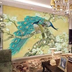 Peacock Wall Mural Vintage Home Decor Chinese Wallpaper Mural Tv Background