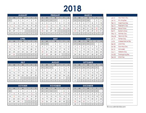 2018 Excel Yearly Calendar Free Printable Templates 2018 Yearly Calendar Template Excel