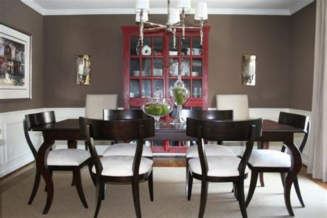 brown walls transitional dining room benjamin whitall brown