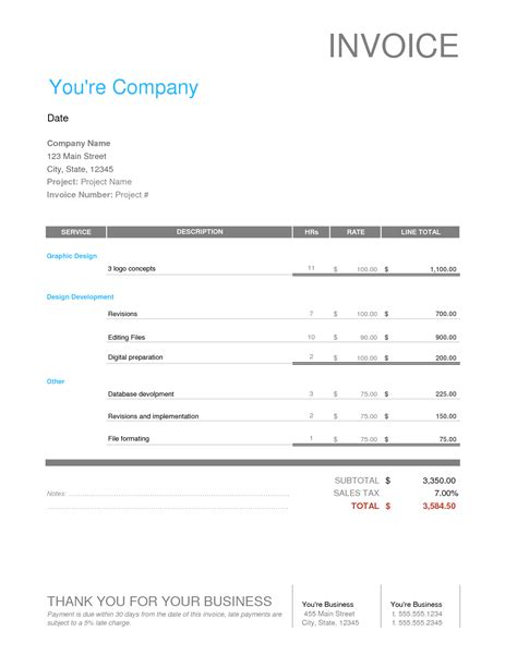 Graphic Design Invoice Template Free Business Template Illustration Invoice Template
