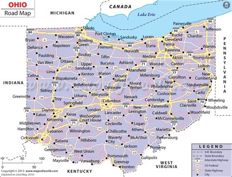 show me a map of ohio ohio road map http www mapsofworld