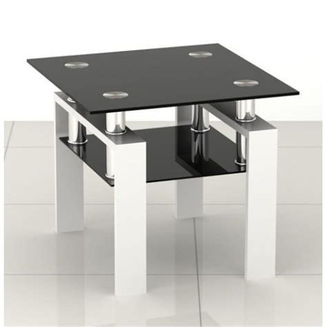 square glass end table square black glass coffee side end table with white legs