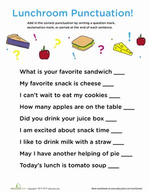 Punctuation Marks Worksheets by Punctuation In The Lunch Room Worksheet Education