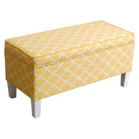 yellow storage bench threshold patterned storage bench yellow living room