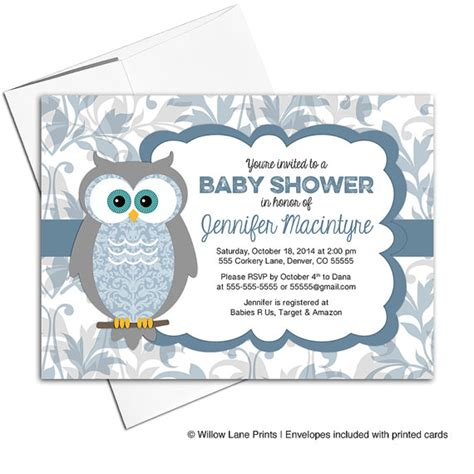 Owl Baby Boy Shower Ideas by Printable Baby Shower Invitations For A Boy Owl Baby Shower