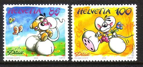 Briefmarken Schweiz Brief schweiz mi nr 1882 1883 comicfigur diddl ii