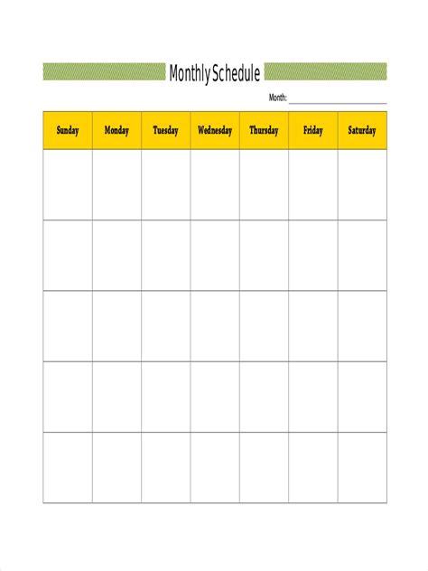 blank schedule examples samples  google docs