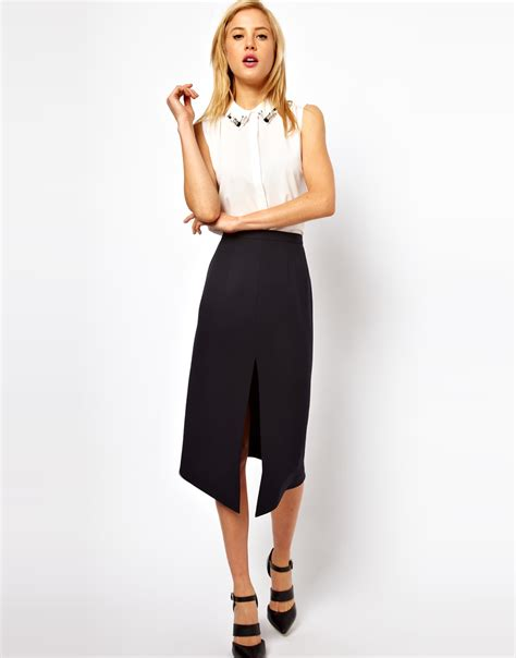 asos collection pencil skirt with split front in blue lyst