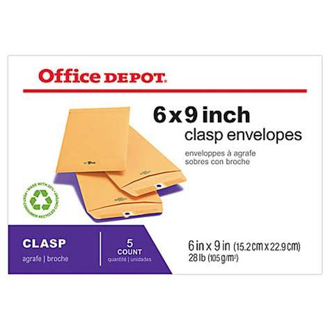 Office Depot Envelopes Office Depot Brand Clasp Envelopes 6 X 9 Brown Pack Of 5
