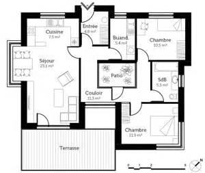 plan 224 toit plat avec patio ooreka