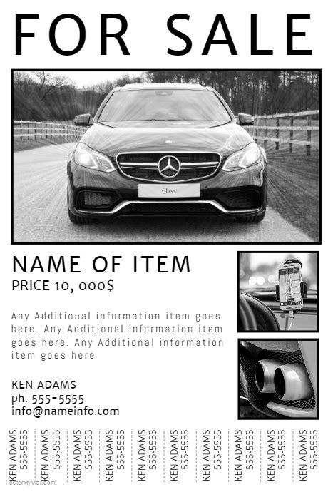 Free Printable For Sale Flyer With Tear Off Tabs Postermywall Car For Sale Flyer Template Free