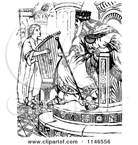 King David Outline by Clipart Of Retro Vintage Black And White David A Harp For King Saul Royalty Free