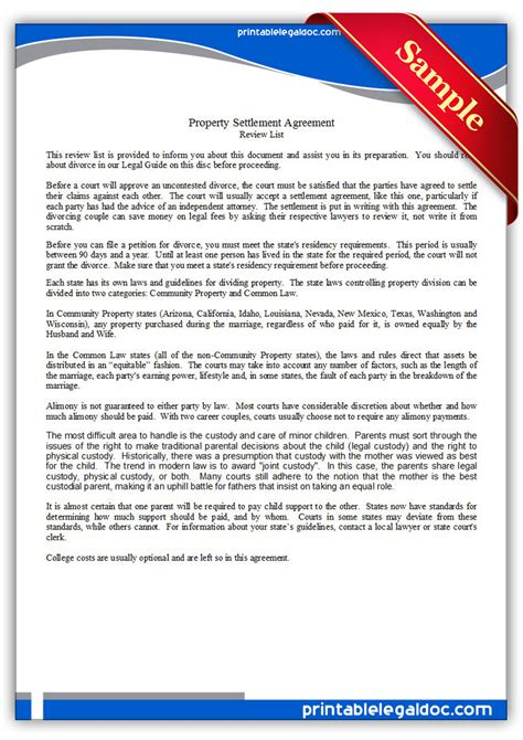 settlement agreement sle property images