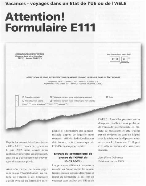 FORMULAIRE E111 PDF