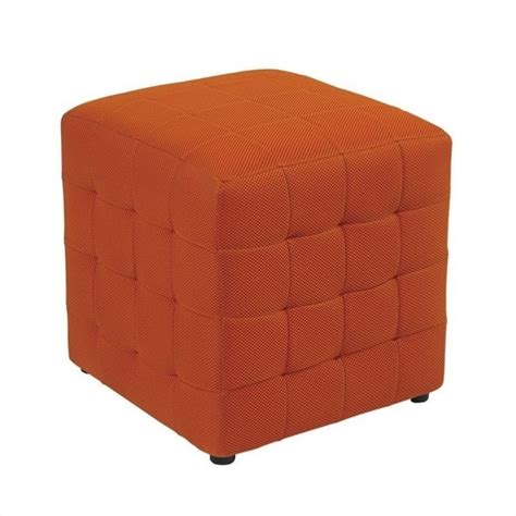 Fabric Ottoman Cube In Orange Dtr15 18 Orange Ottomans