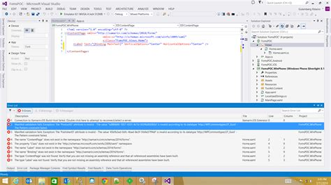 pattern constraint failed xml problems on xamarin forms using shared project xamarin