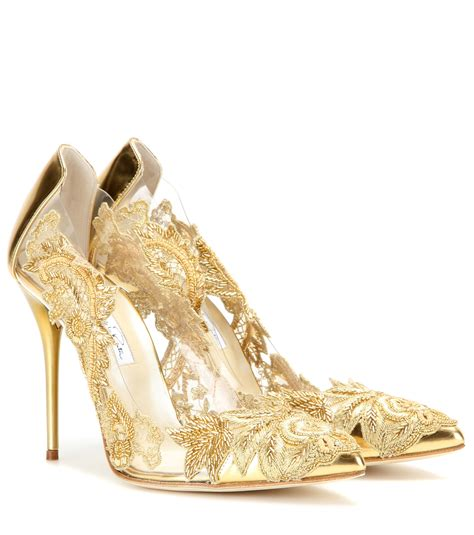 Gold Shoes by Oscar De La Renta Alyssa Embellished Transparent Pumps In