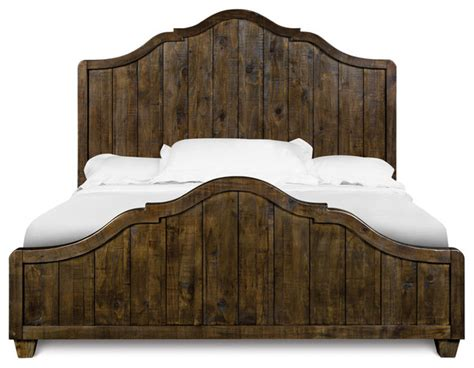 wood panel headboard brenley transitional natural umber wood queen panel bed