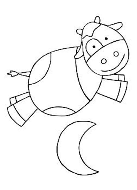 Coloring Page Cow Jumping Over Moon | cow jumping coloring sheet coloring pages