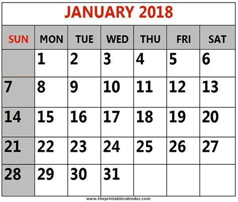 cute calendar january 2018 monthly free printable images and templates
