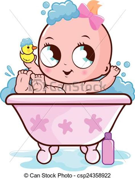 10 Cute Kids Bathroom vector illustration of baby girl taking a bath
