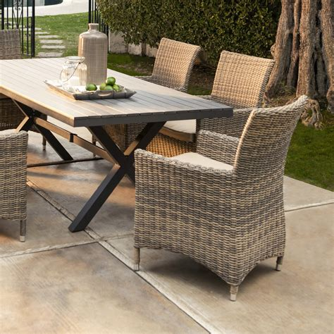 wicker table and chairs set resin wicker patio furniture recliners 6pc all weather
