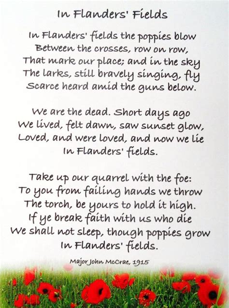 Printable Version Of Flanders Fields | in flanders fields poem printable google search