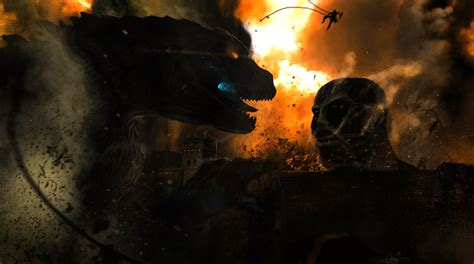 film semi colossal randomness fans pit attack on titan against godzilla in