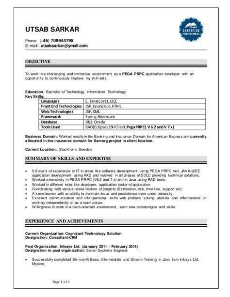 pega developer resume resume ideas