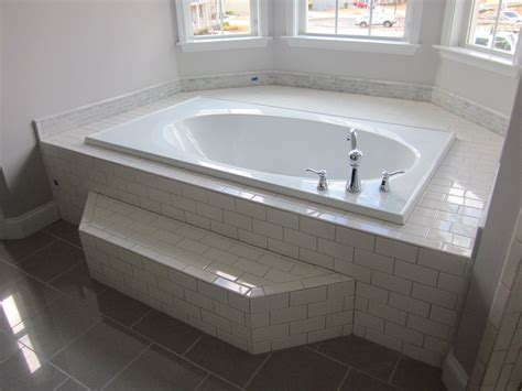 grouting bathtub tile the master tub with white subway tile surround gray