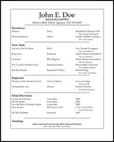 professional acting resume template free acting resume sles and exles ace your