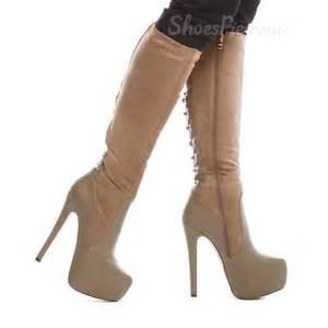 Winter fancy coppy leather stiletto heel knee high boots shoespie