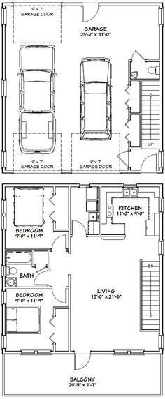 garage apartment plans with kitchen 28x32 house 28x32h1 895 sq ft excellent floor