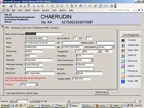membuat program database dengan excel komputerisasi data penduduk rw 09 rw 09 blok iii rawalumbu