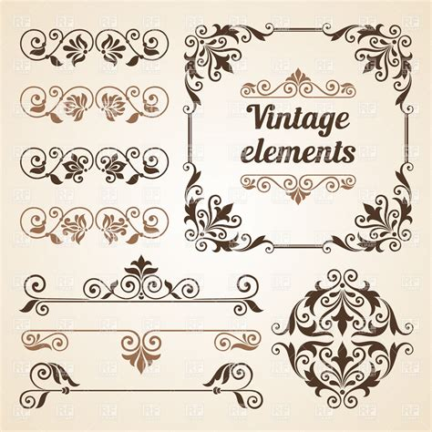 retro vintage design elements vector set set of vintage vignettes and design elements royalty free
