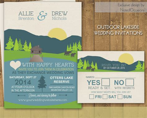 mountain wedding invitations suite cground cing outdoor wedding great for cing