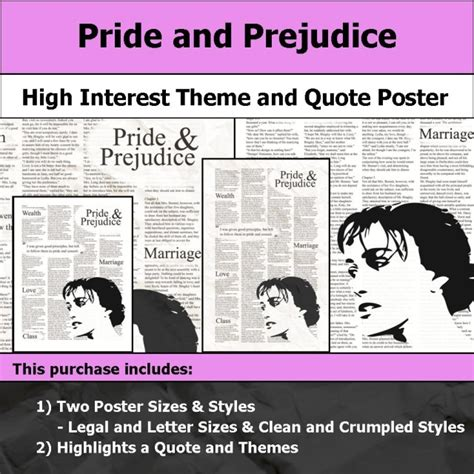 themes found in pride and prejudice visual theme quote posters