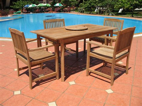 pebble living 7 teak patio dining set patio table