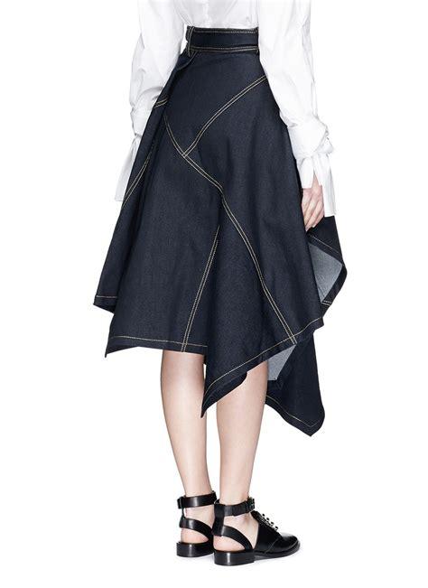 drape front skirt jinnnn asymmetric drape front denim skirt in blue lyst