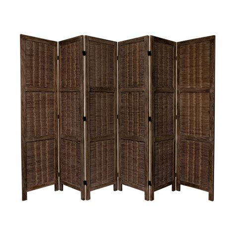 Indoor Privacy Screen Living Room Furniture Shop Furniture 6 Panel Burnt Brown Wood Folding