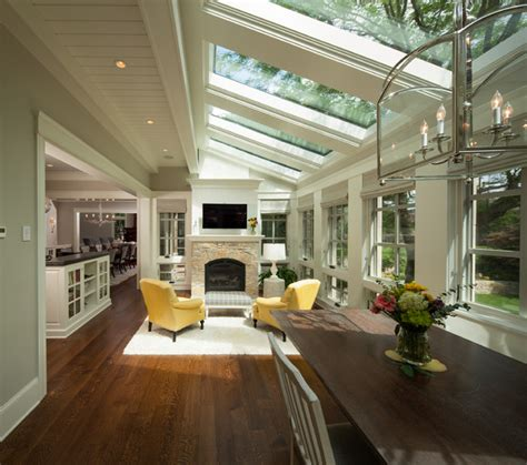 Modern Living Room Additions Modern Twist On Tradition Transitional Sunroom