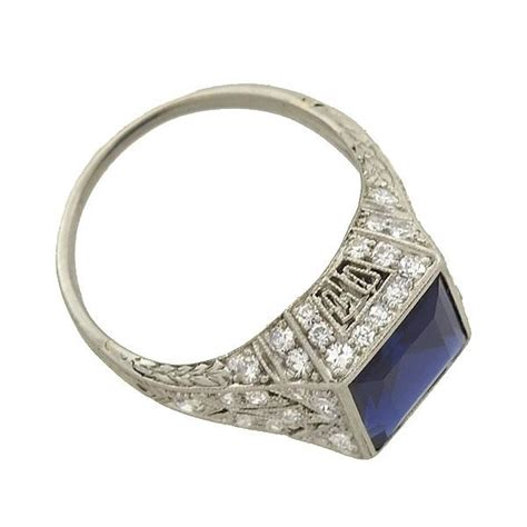 Platinum Square 2 edwardian platinum square sapphire filigree ring 2 25ct a brandt