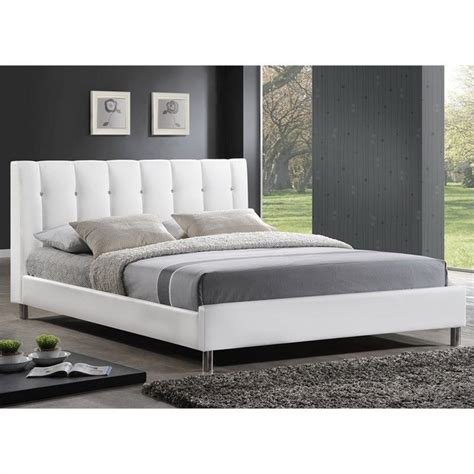 Platform Beds With Headboard Vino Platform Bed With Upholstered Headboard In White Bbt6312 White Xx