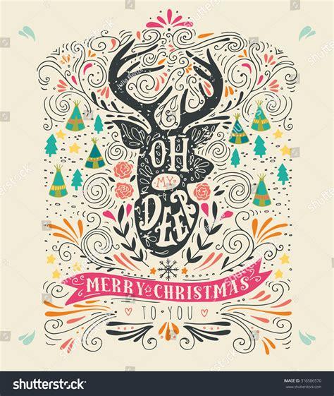 Merry My Deer oh my deer merry vintage stock vector 316586570